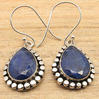 Simulated SAPPHIRE Gems Ethnic Jewelry Cute Dangle Earrings ! 925 Silver Plated