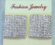 Large Silver Square Crystal Diamante/Diamonte stud Rhinestone Earrings