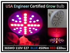 DocBrown Medicine Herb Plant 36SMD LED Red 630Nm Blue 450Nm Light Bulb 110V E27