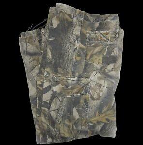 Camo Hunting Cargo Pants W40 x L37 Realtree Hardwoods Camouflage Drawstring Leg