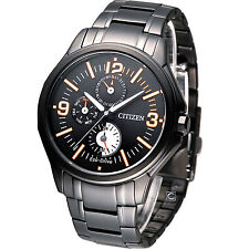 Citizen Eco-Drive AP4005-54E Black Stainless Steel Analog Day Date Men's Watch