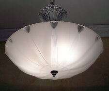116a Vintage 40's Glass Ceiling Light Fixture Chandelier
