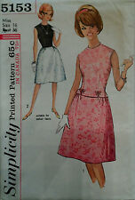 Vtg 60s Business, Lunch, or Cocktail Two-piece Dress FF Simplicity 5153 Bust 36