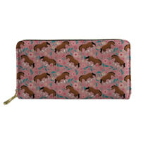 Womens Long Wallet Horse Fashion Slim Floral Clutch PU Organizer Handbag Purse