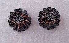 2 VINTAGE AMBER COLOR GLASS BEADS & BLACK SEQUINS BEADED SILK FLOWER APPLIQUES