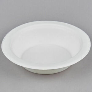 12oz X 125 White Bagasse Sugarcane Bowls - Fully Biodegradable and Compostable