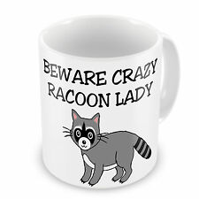 Beware Crazy Racoon Lady Novelty Gift Mug
