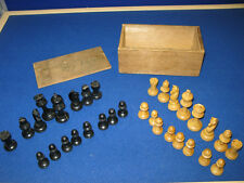 WOODEN ANTIQUE CHESS SET King 2 3/4