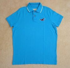 NWT Hollister Mens Henley Polo Shirt Size XL Turquoise Blue Short Sleeve