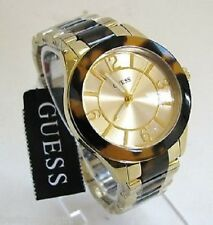 New Authentic Guess Women Gold Tone Tortoise Shell Style Watch W0014L1 ,with box
