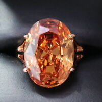 3.5 Ct Oval Orange Citrine Solitaire Ring Women Wedding Jewelry 14K Gold Plated