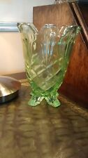 Three footed Green Uranium Glass Vase  Art Nouveau / Deco