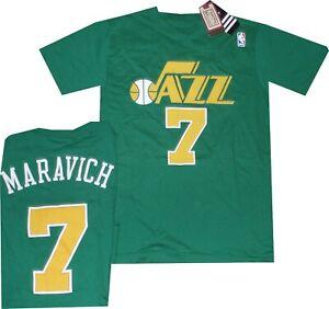 Utah Jazz Pete Maravich Throwback Adidas Green T Shirt New Tags Size SMALL