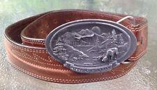 COLORADO Moose Eagle Pewter Buckle C&J 1987 JUSTIN Leather Belt USA
