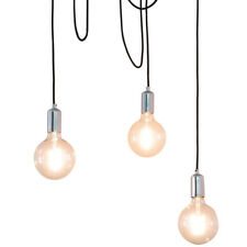 Multi Light Ceiling Pendant –3 Bulb Chrome Steel–Industrial Adjustable Hang Hook