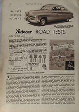 1949 Mercury Coupe Original Autocar magazine Road test