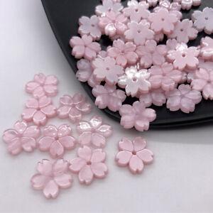 12mm 50pcs Cherry Blossom Loose Beads DIY Handmade Jewelry Accessories