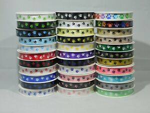 2 metres or Full Roll 3mm 7mm 15mm 25mm Paw Print Satin Double Ribbon Dog Pet