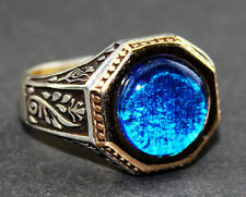 Sterling silver men ring ,aquamarine lab. stone