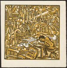 Unique Color Woodcut Bookplate by JOSEF VACHAL 1925 | Exlibris