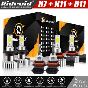 LED Headlight 6x Combo H7+H11+H11 High Low Beam +Fog Light Bulbs Kit 6000K White