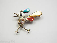 Sterling Silver Road Runner Pin or Pendant Turquoise Mother of Pearl Coral Inlay