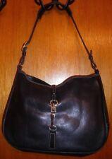 COACH HAMPTONS BLACK LEATHER CLIP CLOSE SHOULDER BAG HANDBAG  STYLE #7751