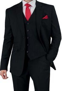 Cavani Men's Three Piece Black Slim Fit Suit - for Formal Wedding Evening Dinner