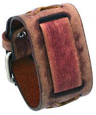 Nemesis SFX-B Brown Criss Cross Wide Leather Cuff Watch Wrist Band