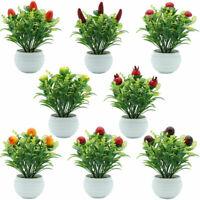 HO_ Artificial Strawberry Mushroom Fruit Tree Plant Home Bonsai Garden Decoratio