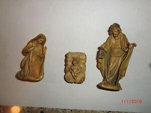 ANRI Krippenfiguren Heilige Familie Coloriert Geschnitzt Holz