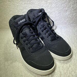 Women's Adidas HOOPS 2.0 MID SHOES Core Black Classic Black On Black 3 Stripes