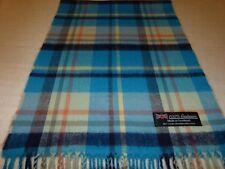 100% Cashmere Scarf Soft 72X12 Blue Cream Black Scotland Wool Check Plaid K52