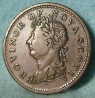 1823 Nova Scotia Canada Thistle Half Penny Token #4353