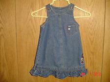 Girl's Lee Floral Denim Blue Jean Overall Dress Ruffled Hem 24 Months Fc209