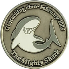The Mighty Shark Geocoin - Antique Silver finish - Unactivated