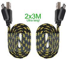 2x 3m Extra langes Handy Ladekabel Smartphone Micro USB Nylon Micro schwarz-gelb