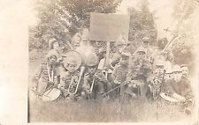1912 RPPC HT Cushman Mfg. Co. Military Band N. Bennington VT Boys Costume Party