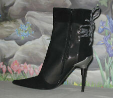 New CASADEI Black Suede & Metallic Mesh Back Lace Boots Booties sz 8.5 / EU 38.5