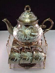 20 piece Tea Set Tea Pot 6 Cups  Saucers Rack Coffee Cup Set Gold Oro 3 oz Cups