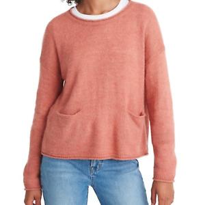 Madewell Womens Patch Pocket Pullover Sweater Sweet Dahlia Pink M Medium