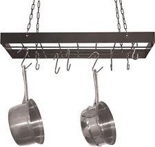 Hanging Pot Rack + Hooks Kitchen Ceiling Hanger Storage Organizer Pans Skillets