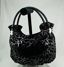 NWOT FASH Medium Black Giraffe Print PVC Hobo Fashion Handbag  Purse
