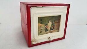 Vintage Red Tin Bread Box