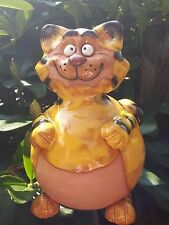 Keramik Katze orange schwarz Gartenkugel Kater Dekoration Garten Terrasse Tiger
