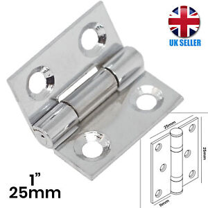 """2x (Pair) STRONG Butt Hinges 1""""/25mm CHROME Small Door/Cupboard/Cabinet/Box Hang"""