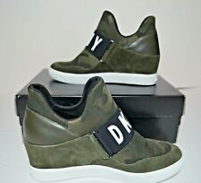 DKNY Cosmos Logo Hidden Wedge Slip On Green Sneakers Size US 8.5 NEW $89