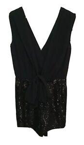 ASOS Label Womens Black Sleeveless Cocktail Sequin Playsuit Jumpsuit, Size 8 UK