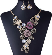 Women Charm Jewelry Set Crystal Flowers Gold Plated Pendant Necklace Earrings