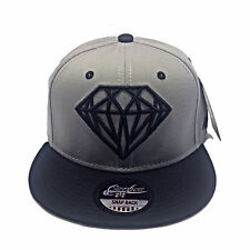 PREMIUM DIAMOND DESIGN Grey WITH BLACK PEAK SNAPBACK FLAT PEAK  BASEBALL CAP